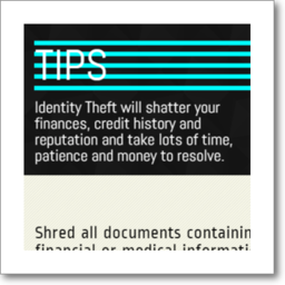 thumbnail graphic about tips on avoiding Identity Theft, in English