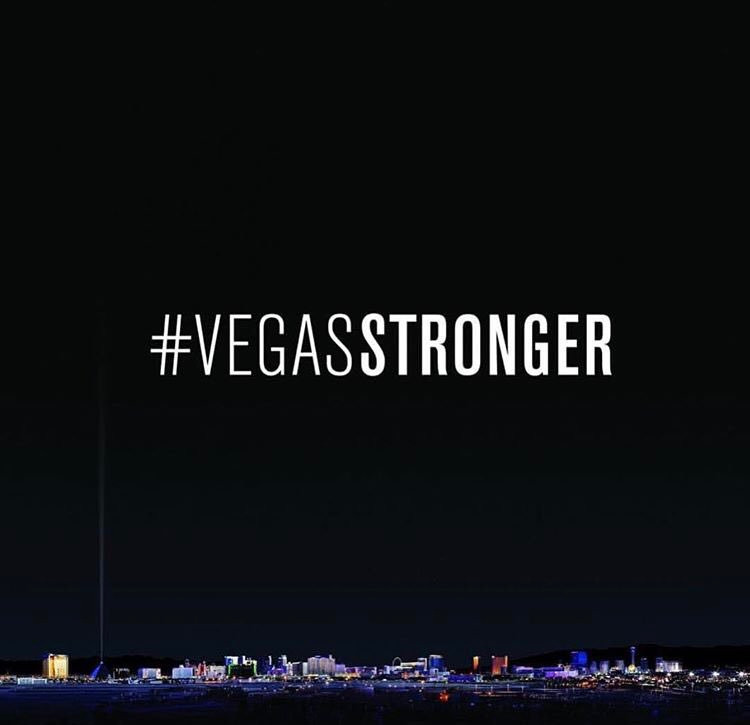 rendering of Las Vegas with hashtag Vegas Stronger