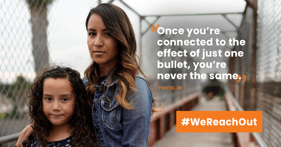 "Graphic with a serious looking young woman and her approximately 10-year old daughter a quote about gun violence that says, ""Once you're connected to the effect of just one bullet, you're never the same."""