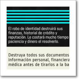 Thumbnail graphic about preventing Identity Theft, in Spanish