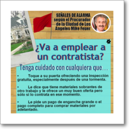 Thumbnail graphic about red flags to avoid when hiring a contractor, from Los Angeles City Attorney Mike Feuer, in Spanish