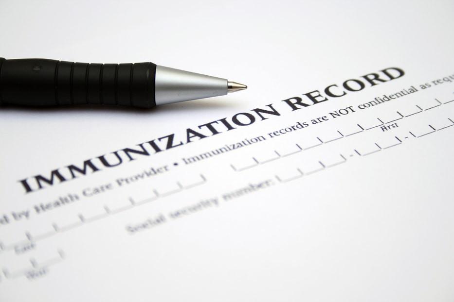 Stock photo of immunization form.