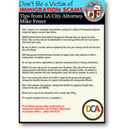 graphic: Tips from Los Angeles City Attorney Mike Feuer on avoiding immigration scams, in English