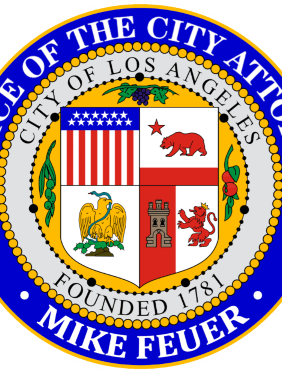 The official purple, gray and yellow seal of the Office of Los Angeles City Attorney Mike Feuer.Los Angeles City Attorney Official Seal.