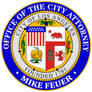 Official purple, gray and yellow seal of the Office of Los Angeles City Attorney Mike Feuer.