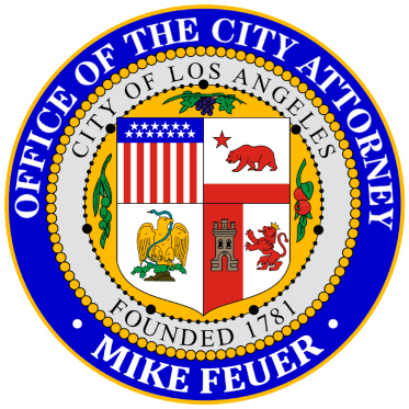 Official seal of the Office of the Los Angeles City Attorney Mike Feuer in purple, yellow and gray.