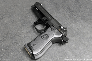 Stock photo of a Beretta 9-millimeter pistol.