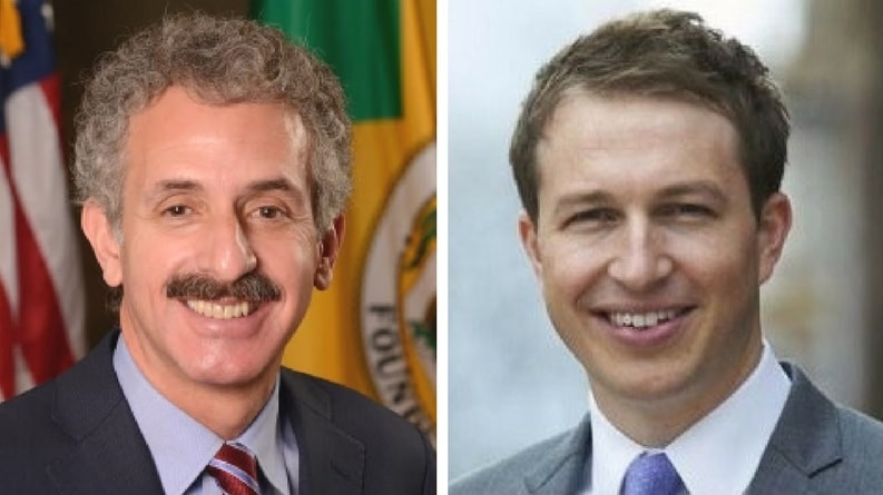 City Attorney Mike Feuer headshot and LAUSD Board Member Nick Melvoin headshot