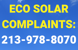 graphic asking customers and potential victims of Eco Solar to call us at 213-978-8070