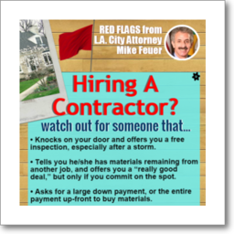 Thumbnail graphic about red flags to avoid when hiring a contractor, from Los Angeles City Attorney Mike Feuer, in English