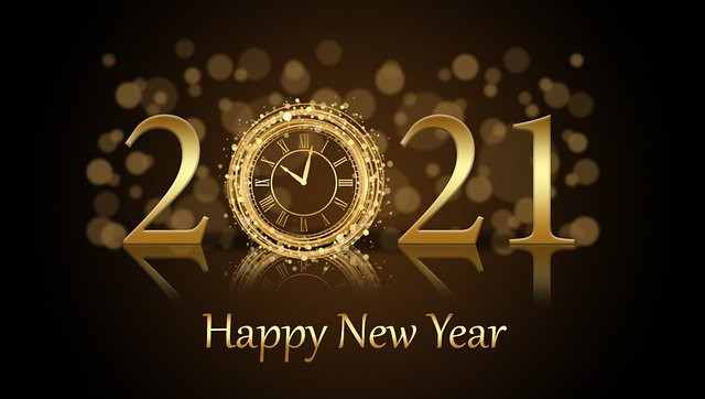 Graphic that says HAPPY NEW YEAR, 2021 in gold lettering against a brown background.