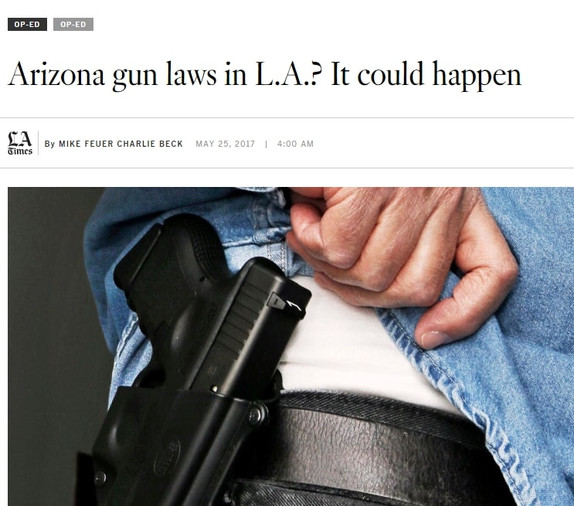 "Photo of a gun in a holster wit the LA Times healdine, ""Arizona gun laws in LA? It could happen."""