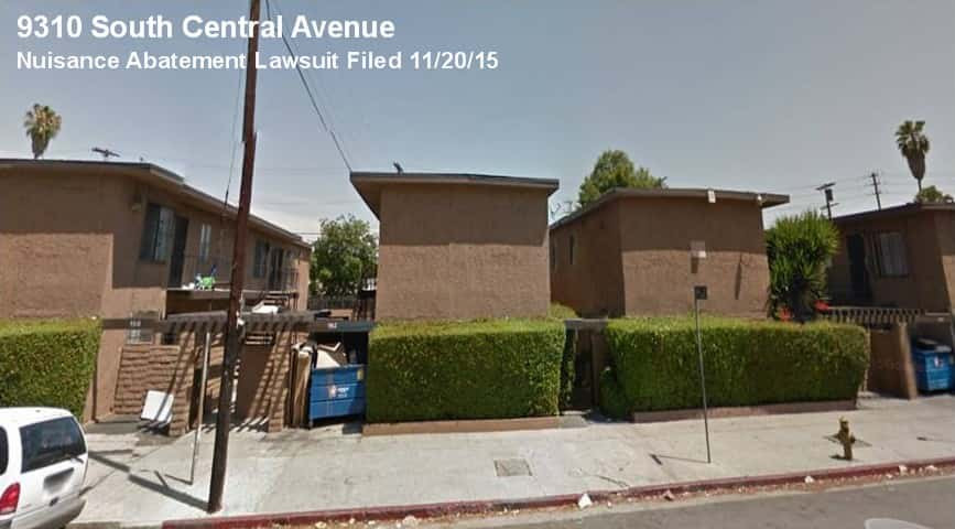 photo of 9310 South Central Avenue in Los Angeles, site of a nuisance abatement lawsuit