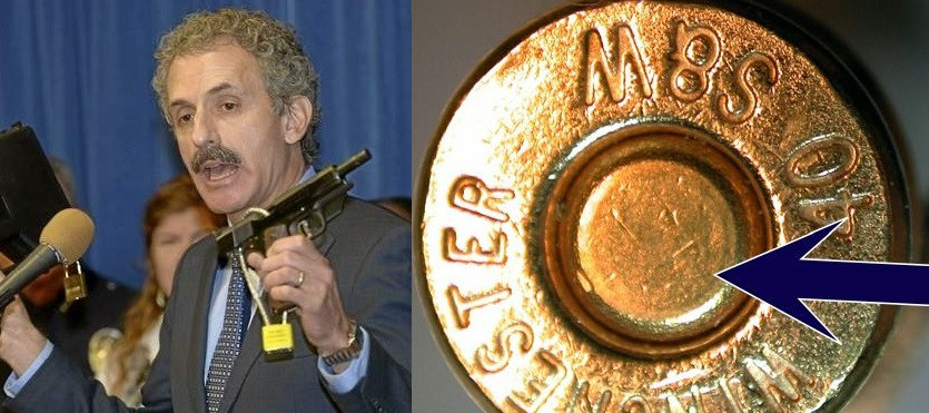 Two photos side by side, in the first a man in a suit holds a gun and speaks into a microphone. The second is a cloise-up of a bullet showing demonstrating micro-stamping.