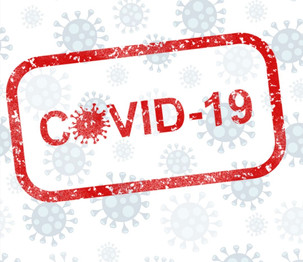 """A white background with light gray COVID-19 """"spike"""" cells graphic and the words COVID-19 in red stamped over it."""