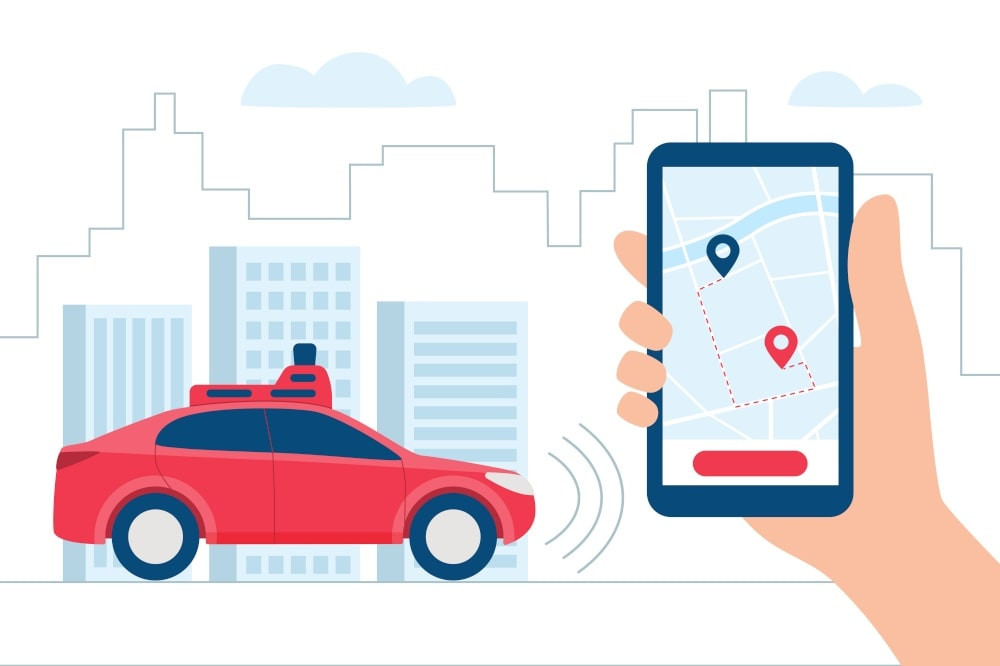 Graphic of a red car and someone holding a cellphone, intimating they are using a ride-sharing app.