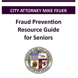 Thumbnail graphic linking to fraud prevention resource guide for seniors, in English