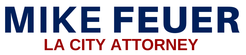 """Logo for City Attorney Mike Feuer's press releases which features, """"Mike Feuer"""" in blue letters sitting atop """"LA City Attorney"""" in maroon letters."""