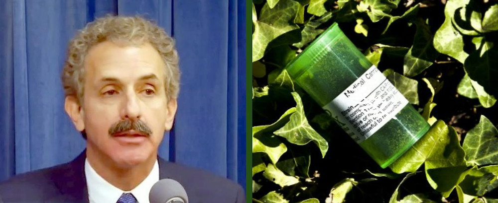 File photo of man with a moustache speaking into a microphone next to a stock photo of a green plastic medicine bottle on a bed of marijuana.