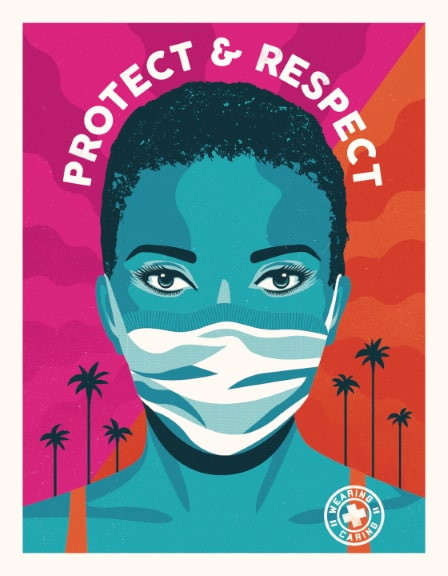 "Official Angeles public outreach pop art campaign with a blue woman wearing a mask against a bright violet and orange background and the words, ""Protect and Respect."""