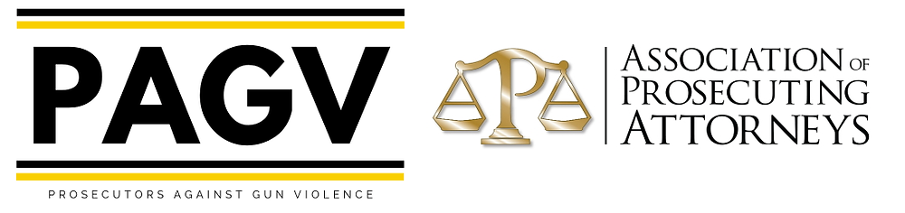 Side by side logos from the organizations Prosecutors Against Gun Violence and the Association of Prosecuting Attorneys on white backgrounds
