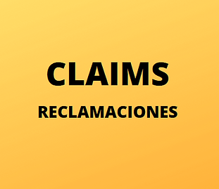 """Gold graphic with large black letters that says """"Claims"""" and """"Reclamaciones"""" and links to the Claims page."""