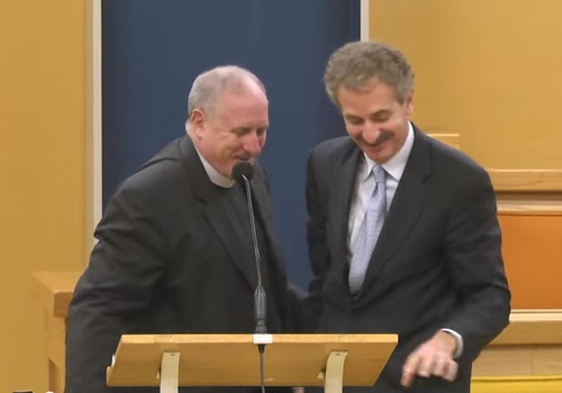 Los Angeles City Attorney Mike Feuer delivers Mother's Day speech about Gun Violence, pictured with Rector Edwin Baker, at All Saint's Church in Pasadena. Linked to YouTube video:  https://www.youtube.com/watch?v=IIuJjBPBjfs