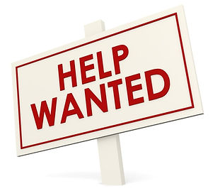 """A red and white graphic of a lawn sign that says, """"Help Wanted,"""" on it."""