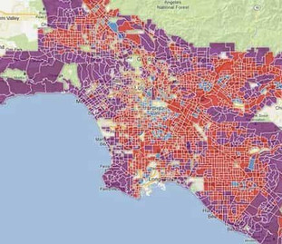 Map of the City of Los Angeles with different neighborhoods in different colors.