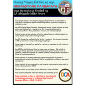 graphic: Tips from Los Angeles City Attorney Mike Feuer on avoiding immigration scams, in Tagalog