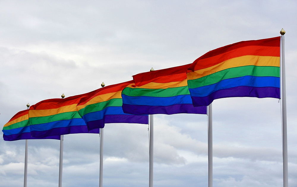 5 rainbow flags marking LGBTQ pride and equality.