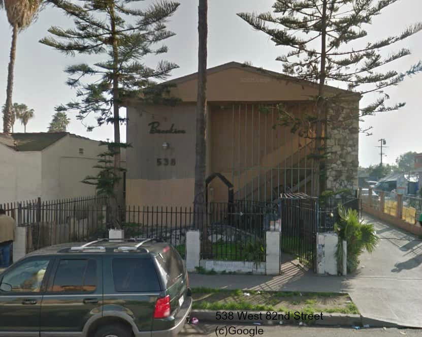 image of one of three gang properties targeted by Los Angeles City Attorney Mike Feuer, at 538 West 82nd Street.
