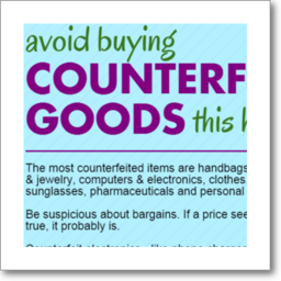 thumbnail graphic: Tips on how to avoid buying counterfeit goods