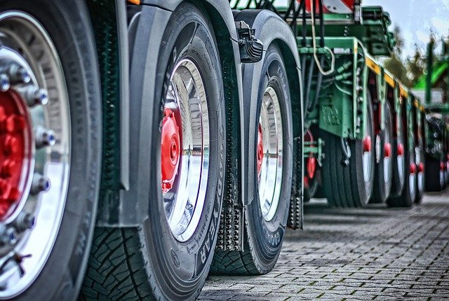 Stock photo of the tires on a tracktor-trailer.