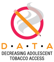 Red and Orange circuluar logo for DATA, in front of a plume of smoke. DATA stands for Decreasing Adolescent Tobacco Access.