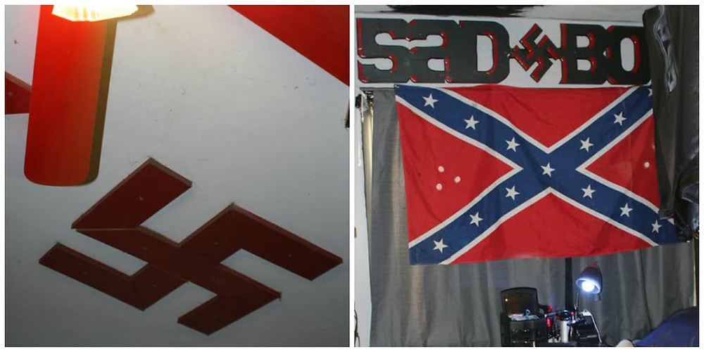 Side by side photos of evidence taken from alleged white supremacist gang homes. On the left is a large red swastika affixed to the ceiling, on the right is a confederate flag in red and blue.