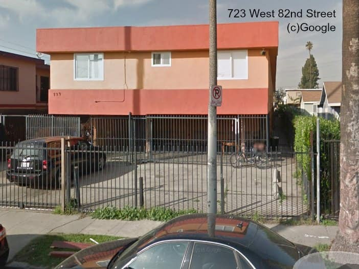 image of one of three gang properties targeted by Los Angeles City Attorney Mike Feuer, at 723 West 82nd Street.