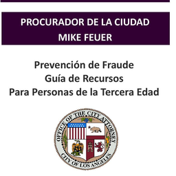 Thumbnail graphic linking to the fraud prevention resource guide for seniors, in Spanish