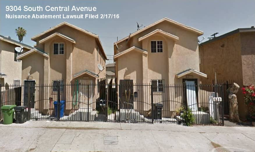 photo of 9304 South Central Avenue in Los Angeles, site of a nuisance abatement lawsuit