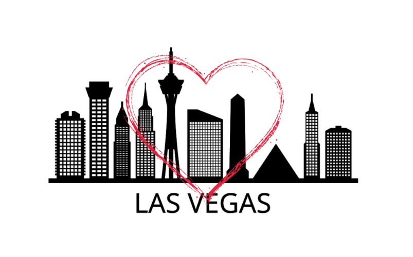 black and white graphic image of Las Vegas skyline, with a red heart superimposed over it.