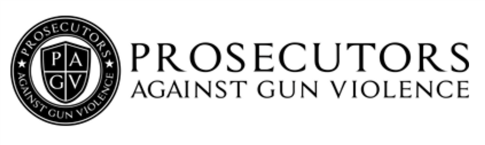 The Prosecutors Against Gun Violence Logo in black and white highlighting PAGV.