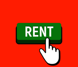 Bright green button that says RENT in white letters against a bright red background.