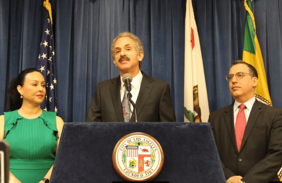 left-right: Councilwoman Nury Martinez, City Attorney Mike Feuer and Councilmember Bob Blumenfield