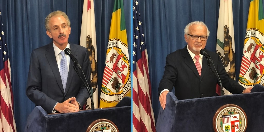 Two separate photos, side by side, of two different men speaking into microphones at a press conference in front of a blue curtain and flags.