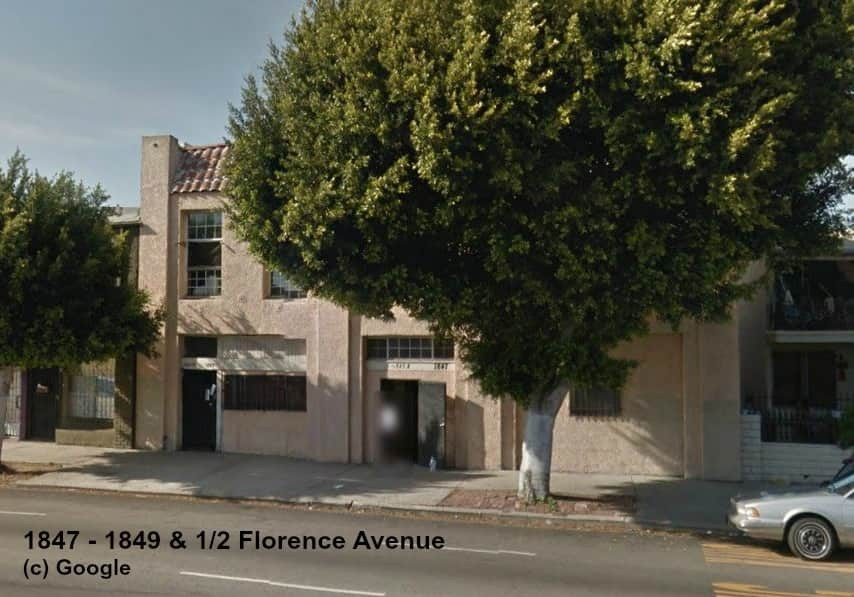 image of South Los Angeles apartment complex at 1847-1849 & 1/2 Florence Avenue - the subject of a narcotics and gang-related nuisance abatement lawsuit was filed by Los Angeles City Attorney Mike Feuer.