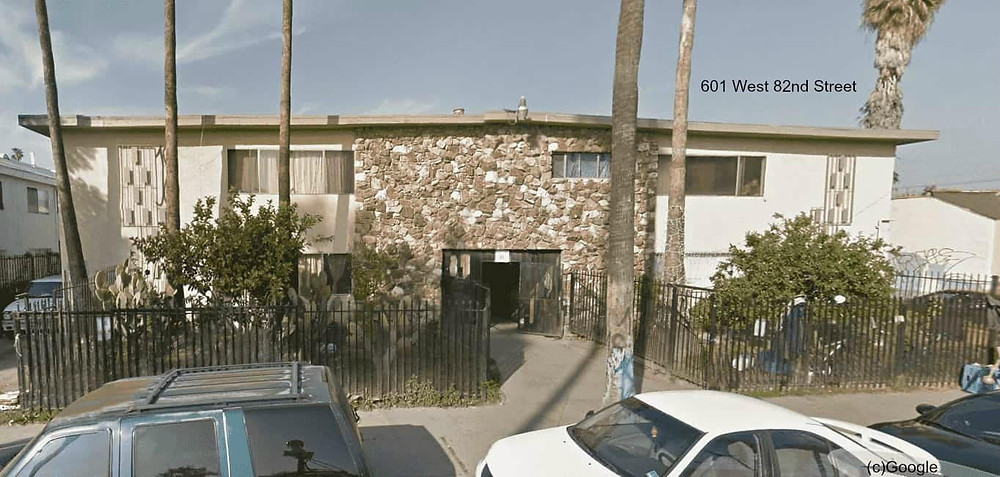 image of one of three gang properties targeted by Los Angeles City Attorney Mike Feuer, at 601 West 82nd Street.
