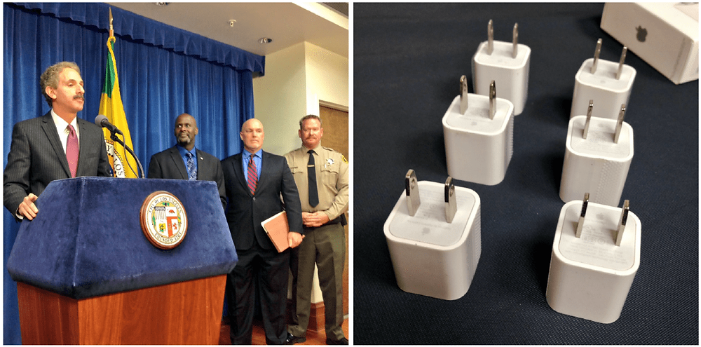 Two photos side by side, on the left it is City Attorney Mike Feuer at a podium speaking into a microphone joined by a Sheriff and two men. On the right is six counterfeit iPhone chargers on a black table that very much look genuine.