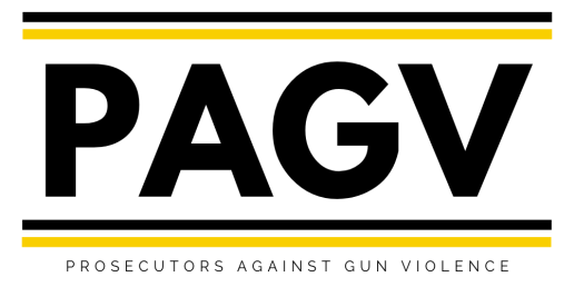 "Logo for Prosecutors Against Gun Violence: PAGV in large black letters between a black and yellow lines and ""Prosecutors Against Gun Violence"" beneath it."