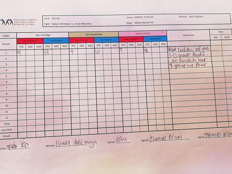 UFC 243: marcação oficial dos arbitros de mesa
