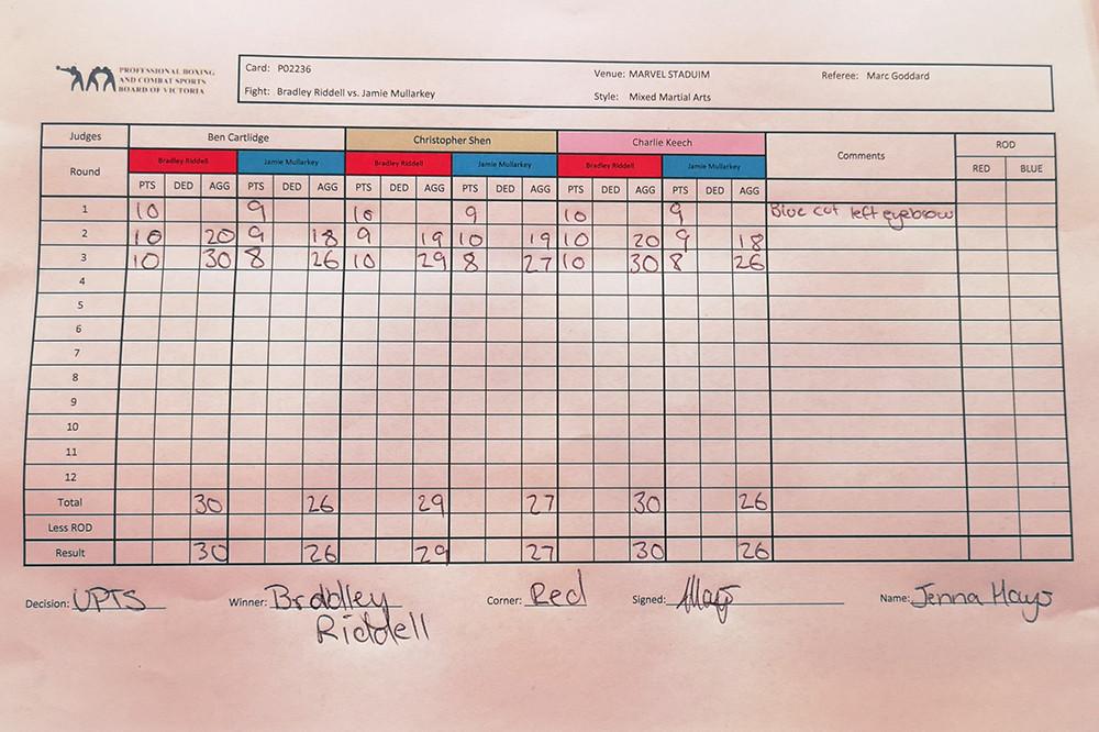 Brad Riddell (7-1 MMA, 1-0 UFC) venceu Jamie Mullarkey (12-3 MMA, 0-1 UFC) por decisão unânime